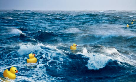 Toy ducks at sea
